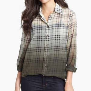 Two by Vince Camuto | Ombre Plaid Button Up Blouse